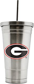 NCAA Georgia Bulldogs 17oz Double Wall Stainless Steel Thermo Tumbler with Straw