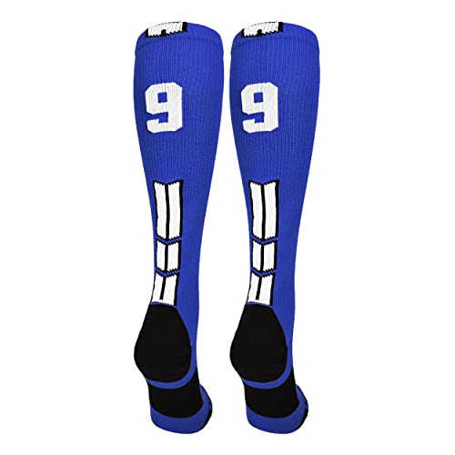 9426a1e1d MadSportsStuff Royal White Player Id Custom Over The Calf Number Socks  (Pair)