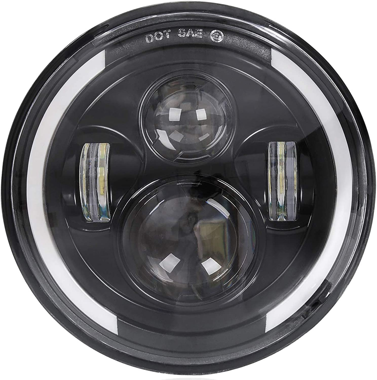 "7/"" Motorcycle Amber COB Plasma Halo H4 6K 4000Lm Light Bulb LED Headlight Harley"