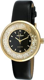 ساعة رسمية للنساء بتصميم دائري وتصميم رفيع باللون الفضي وسوار باللون الاسود، مع قطع الماس متحركة من بيجو، طراز 3041SBK