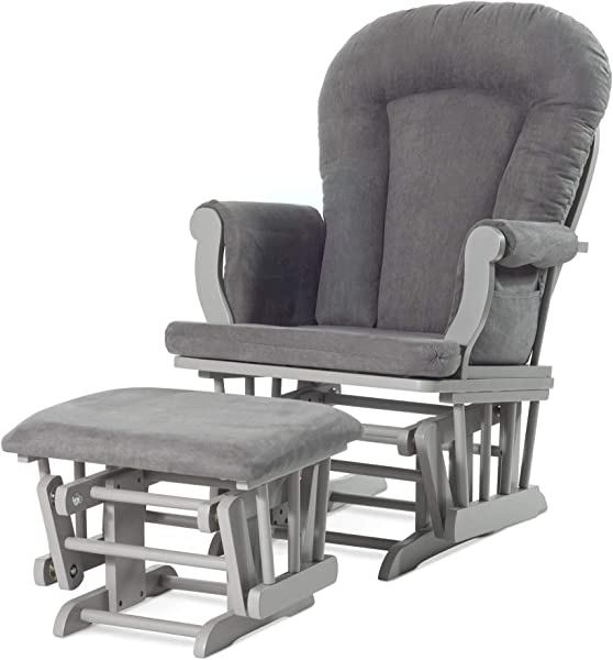 Forever Eclectic By Child Craft Cozy Glider And Ottoman Cool Gray With Dark Gray Cushion