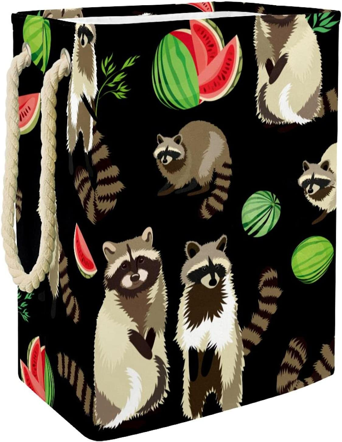 MAPOLO Laundry 55% OFF Hamper Courier shipping free Raccoon Watermelon Linen Foldable