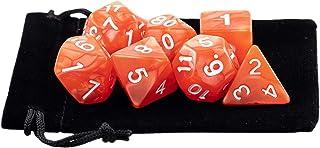 Kit 7 Dados RPG de Mesa D&D Opaco Perolado D4 D6 D8 D10 D10% D12 D20 Cor VERMELHO CLARO + 1 Bolsa