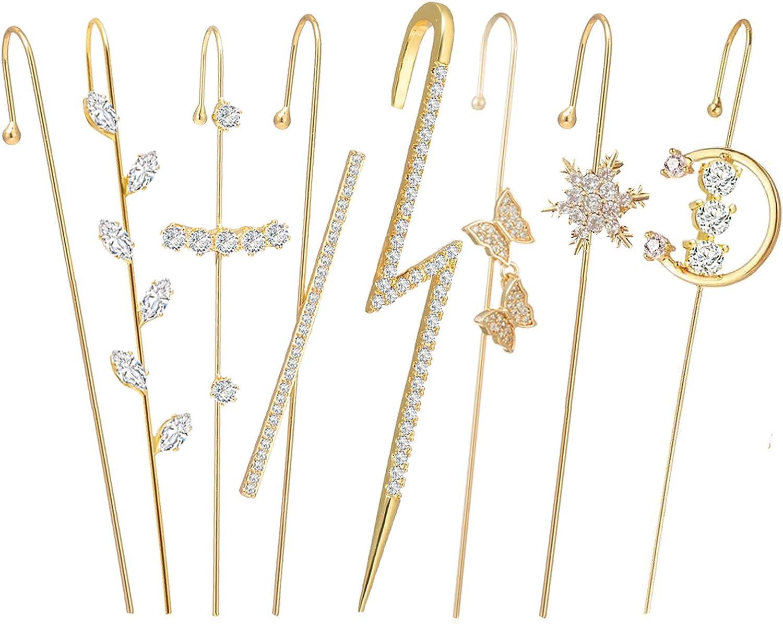 Ear Cuffs Crawler Hook Earrings for Women Gold Hypoallergenic Piercing Ear Wrap Climbers Earrings Simple Pearl Cubic Zirconia Rhinestone Hoop Earrings