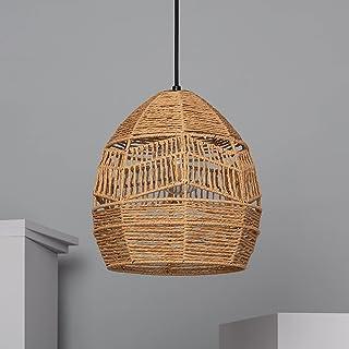 LEDKIA LIGHTING Lampe Suspendue Beyawo 300x300x300 mm Naturel E27 Corde de Chanvre pour Décoration Salon, Chambre, Cuisine