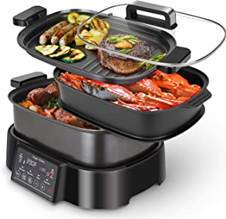 Programmable Slow Cooker with Countdown Timer, 6 L 6.3 Quart Multi-cooker with Steamer Tray, Grill Plate, Cooker pot 8-in-...