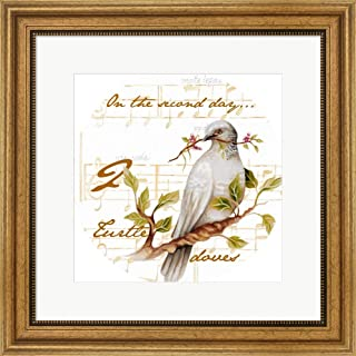 Two Turtle Doves by Janice Gaynor Framed Art Print Wall Picture, Wide Gold Frame, 20 x 20 inches
