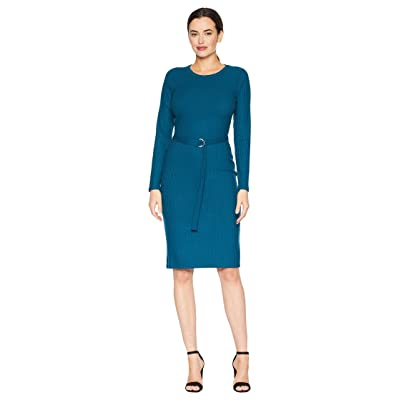 MICHAEL Michael Kors Belted Rib Dress (Luxe Teal) Women