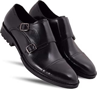 WOODBAY Black Double Buckle Style Monk Strap Shoes for Men