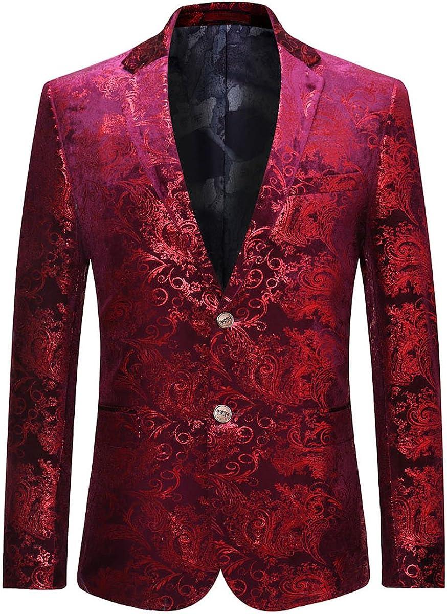 Allthemen Traje de Vestir de Terciopelo Casual de Lujo para Hombre Slim Fit Estampados Florales Abrigos Elegantes Blazer Chaquetas Elegantes