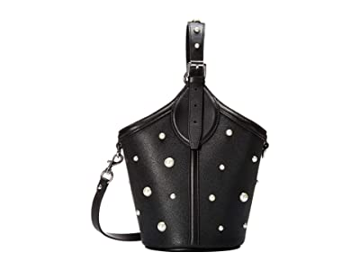 Rebecca Minkoff Pippa Top-Handle w/ Pearl Studs (Black) Handbags