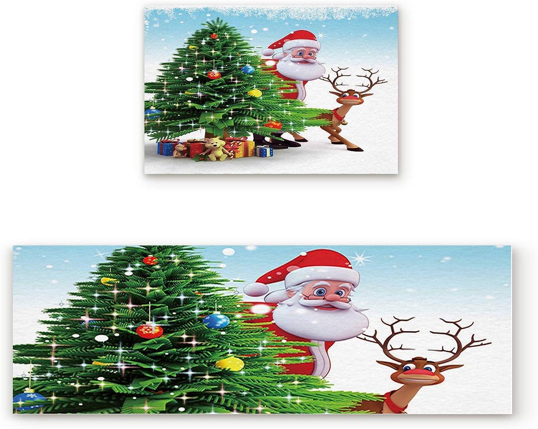 Libaoge Non-Skid Slip Rubber Backing Kitchen Mat Runner Area Rug Doormat Set, Christmas Tree Reindeer Carpet Indoor Floor Mats Door 2 Packs, 23.6 x35.4 +23.6 x70.9