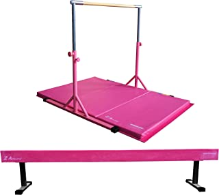 """Z-Athletic Expandable Kip Bar for Gymnastics, 4ft x 6ft x 2in Mat, 18"""" Off Ground Balance Beam Set (Pink)"""