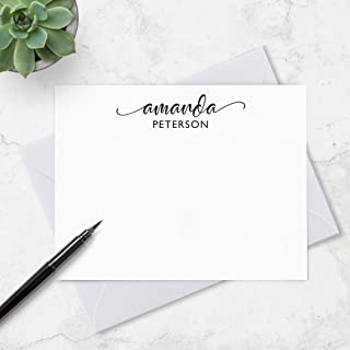 Personalized Stationery Set, Calligraphy Stationery for Women, Personalized Note Cards, Your Choice of Colors