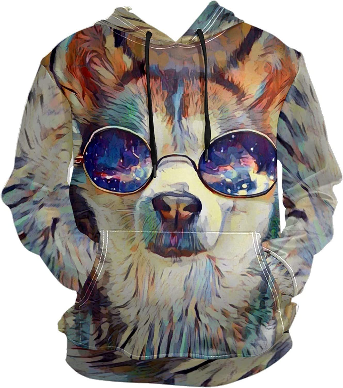 Men's Sport Hoodie Husky Cool Dog Puppy With Glass Big and Tall Hoodies for Men Women Oversized Hooded Sweatshirt Hip Hop Pullover Hoodie Midweight Hood for Boys Girls