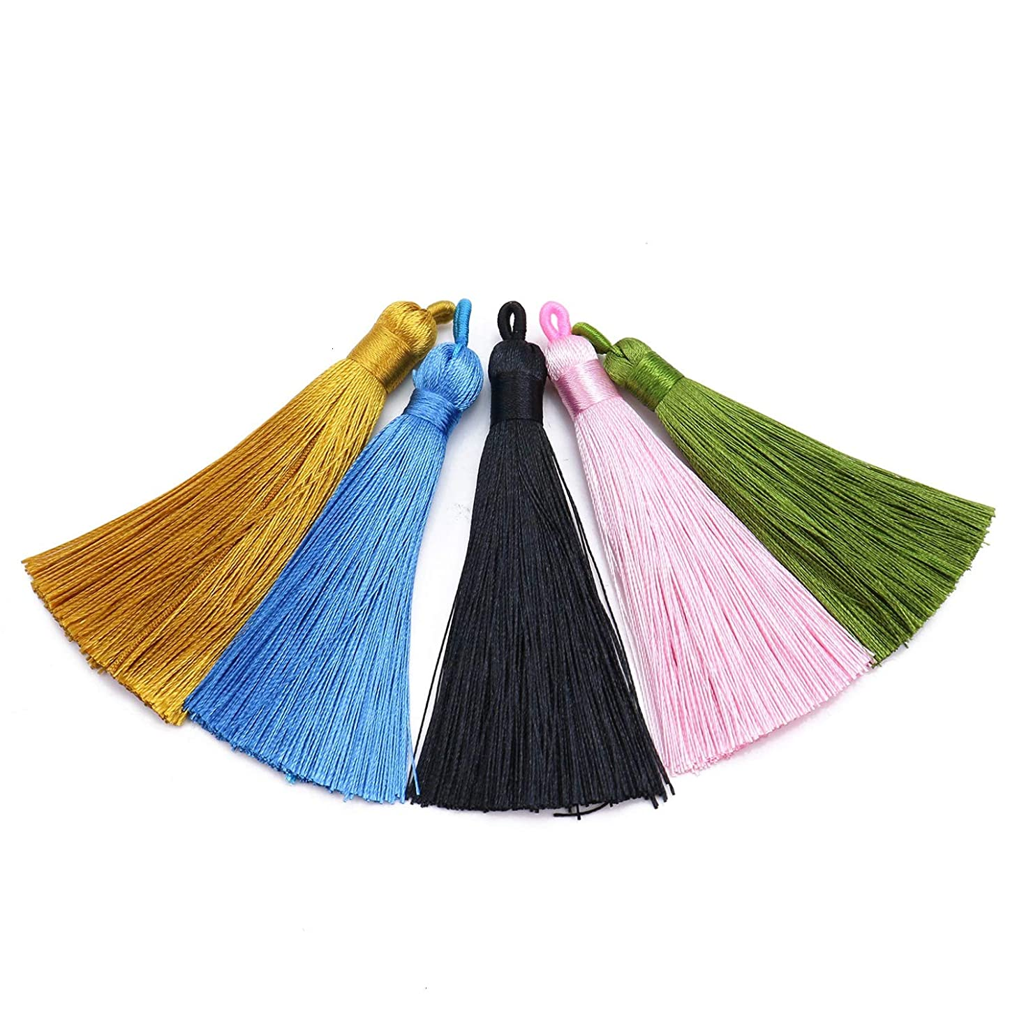 Monrocco 10pcs Multicolored Mini Imitation Silk Tassels with Hanging Loop for Jewelry Making, DIY Crafts Accessories (5 Color)
