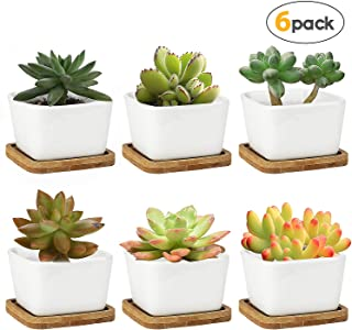 Succulent Planters,OAMCEG 3.35 inch Square Design for Succulent/Cactus,Set of 6 White Ceramic Succulent Cactus Planter Pots with Bamboo Tray(Plants NOT Included)