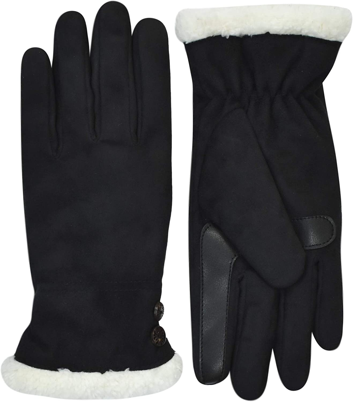 Isotoner Women's SmartDri Sherpasoft Lined Touchscreen Gloves, Black L/XL A30006