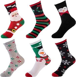 Set Of 6 Pairs Women's Christmas Socks Crew Dress Ladies Santa Striped Snowflake Bulk
