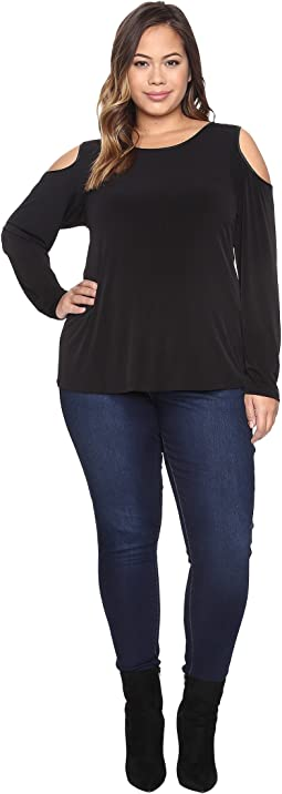 Plus Size Long Sleeve Cold Shoulder Top w/ PU Trim