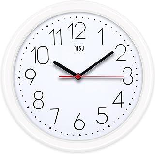 hito Silent Wall Clock Non Ticking 10 اینچ حرکت عالی جهت جابجایی دقیق ، تزئینی برای آشپزخانه ، اتاق نشیمن ، حمام ، اتاق خواب ، مطب (سفید)