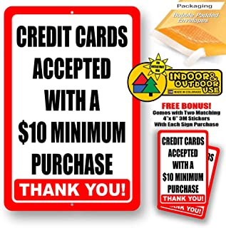 Credit Card Accepted with Minimum 10$ Purchase Metal Business Policy Novelty Tin Sign Indoor and Outdoor use 8
