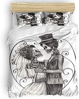 Duvet Cover Set Printed 4 Pcs Bedding Set Queen Size Include Duvet Cover, Bed Sheet, Pillow Shams Romantic Mr Mrs Couple Skull Skeleton Marriage Soft Quilt Sets for Children/Adults