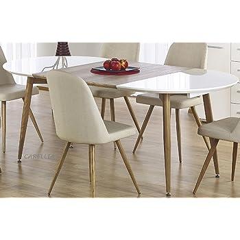 Mesa de comedor de diseño oval extensible, 120/200 cm x 100 cm x ...