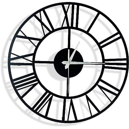 shopvilla Metal Big Wall Clock for Home Decor (30 cm, Matte Black)