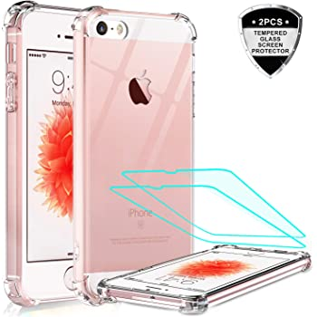 LeYi iPhone SE Case (2016), iPhone 5S Case, iPhone 5 Case with 2 Tempered Glass Screen Protector, Crystal Clear Hard PC Soft TPU Shock-Absorption Bumper Slim Phone Cover Cases for iPhone SE / 5 / 5S