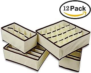12 piezas Organizador para Cajones, Tela sin tejer ropa interior ordenado práctico caja calcetines cortos cajón lazos guardatodo bolsa de almacenamiento (12 piezas, Color Crema)