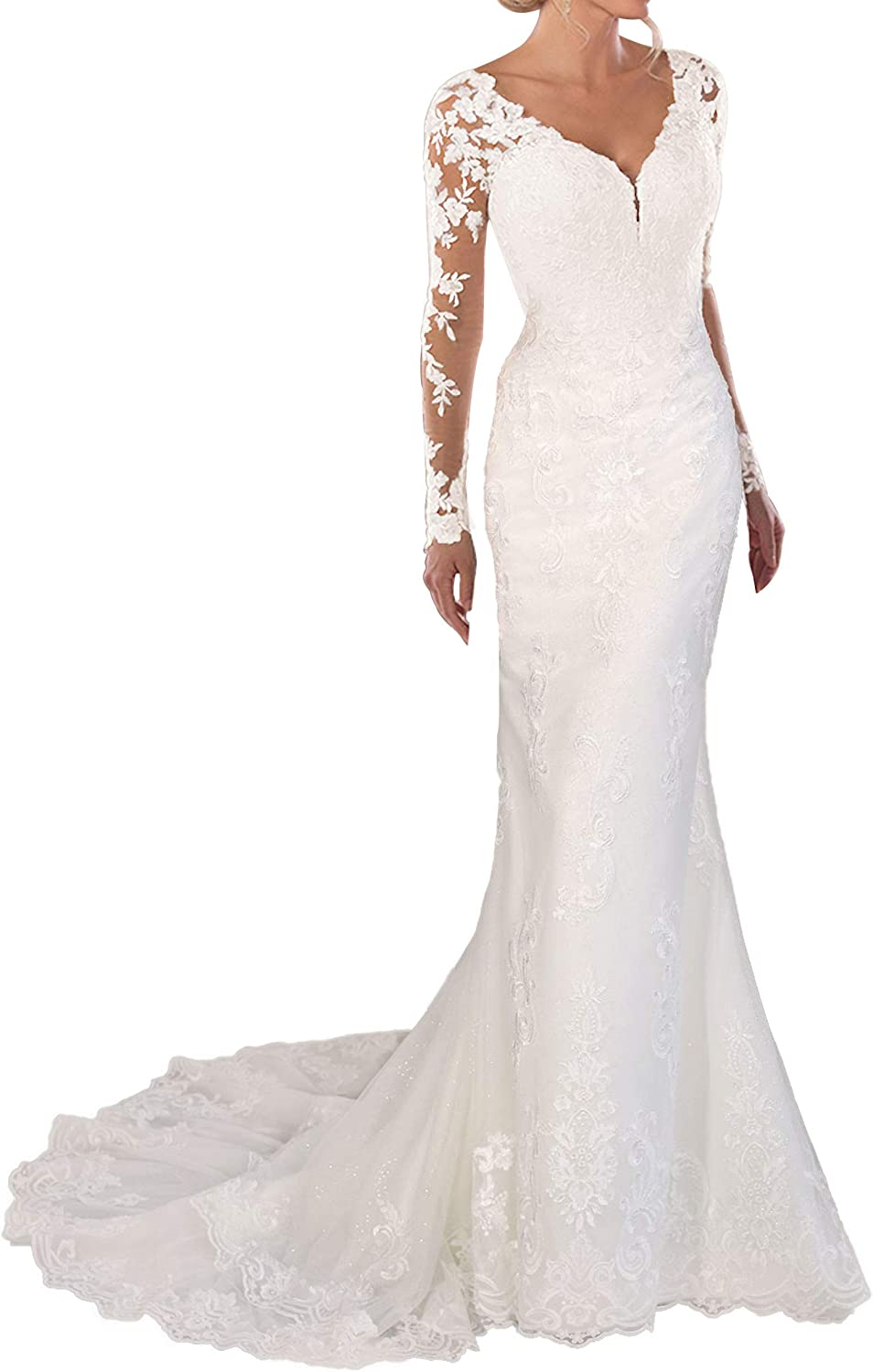 Wedding Dress Lace Bridal Gown Long Sleeves Mermaid Bride Dresses V Neck Wedding Gowns