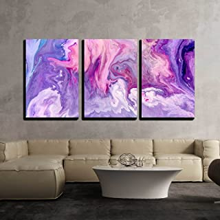 wall26 - 3 Piece Canvas Wall Art - Abstract Purple Paint Background. Acrylic Texture with Marble Pattern - Modern Home Decor Stretched and Framed Ready to Hang - 16