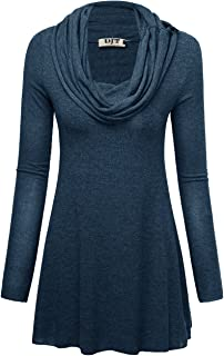 Womens Cowl Neck A-Line Tunic Knit Top