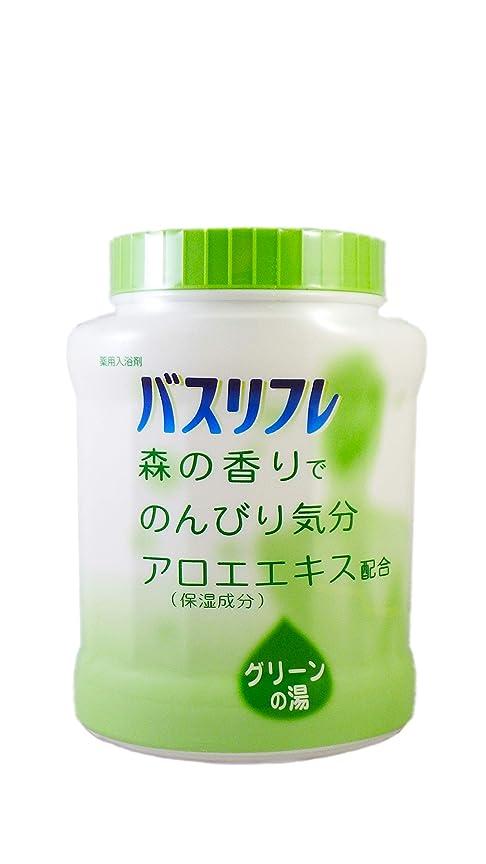 防衛仮称何よりもバスリフレ 薬用入浴剤 グリーンの湯 森の香りでのんびり気分 天然保湿成分配合 医薬部外品 680g