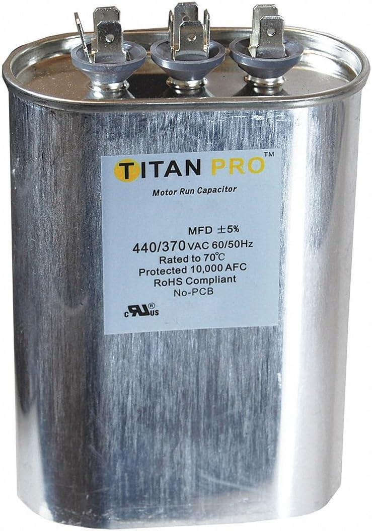 TITAN PRO Motor Dual Run Cap, 45/5MFD, 370-440V, Oval
