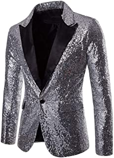 HX fashion Shiny Sequins Glitter Jacket Blazer Casual Men Slim Fit Comfortable Sizes Scarf Collar Male Royal Blue S Blazer...