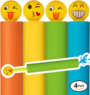 Water Blaster Soaker Gun - 4 Pack Safe Foam Noodle Pump Action Outdoor Water Toy for Kids and Adults - Pool Beach Yard and Park Play. Emoji Handles in 4 Bright Colors. Up to 30 ft. Blast