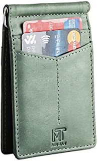 MIN-TAN RFID Blocking Wallet Slim Bifold - Genuine Leather Minimalist Front Pocket Wallets for Men with Money Clip (Green)