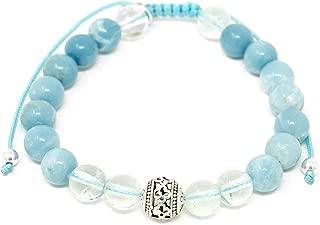 Larimar Accessories | 8mm Mala Beads Bracelet | Mala Gemstone Bracelet | Mala Yoga Bracelet | Mala Prayer Bracelet | Mala Meditation Beads Bracelet | (Larimar & Clear Quartz)