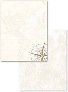 """Astrodesigns 2-Sided Preprinted Stationery, 8.5"""" x 11"""", Parchment Map, 50 Sheets (91280)"""