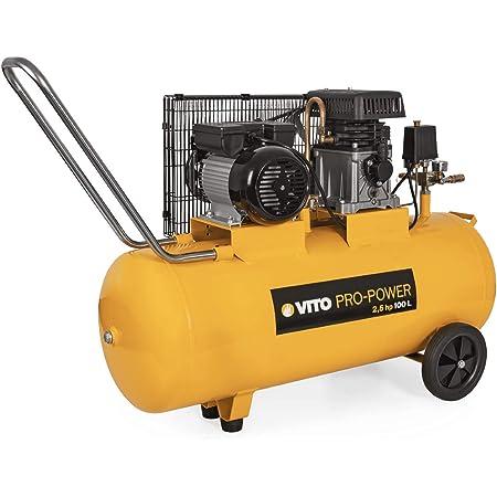 Vito Professional Kompressor 230v 100 Liter 12 Bar Max 100l Kessel Mit Riemenantrieb 1850w 2 5ps Druckluftkompressor Mit Ölschmierung 233l Min 10 Bar Baumarkt