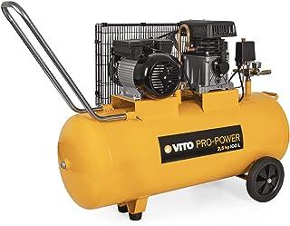VITO Professional Kompressor 230V 100 Liter, 12 bar (max), 100L Kessel mit Riemenantrieb, 1850W 2.5PS Druckluftkompressor mit Ölschmierung 233L/Min 10 Bar