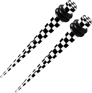 BIG GAUGES Pair Acrylic Black & White Taper Ear Plug Checker Double O Rings Piercing Jewelry Stretching Expander Earring