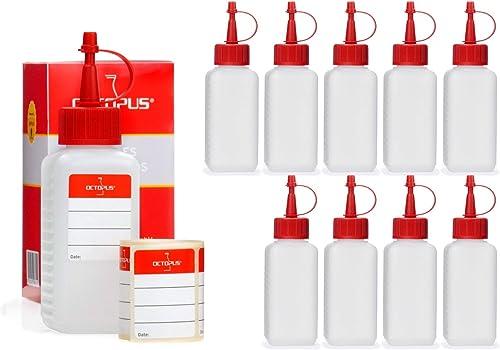 10x 100 ml flacons en plastique HDPE avec des bouchons pissette ou compte-gouttes rouges, utilisables par exemple pou...