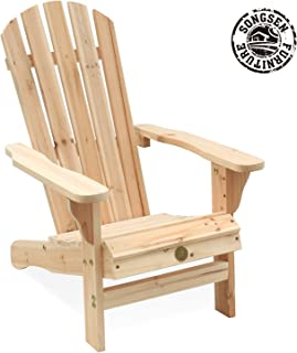Songsen Kid's Outdoor Log Wood Adirondack Lounge Chairs/Muskoka Chair Patio Deck Garden Furniture-Natural
