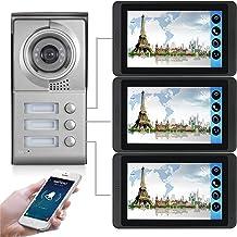 Wifi Video Deurbel, Intercom, 3 Appartementen Video Deurtelefoon Beveiligingskit, Nachtzicht Camera + 7 Inch Monitor, APP ...