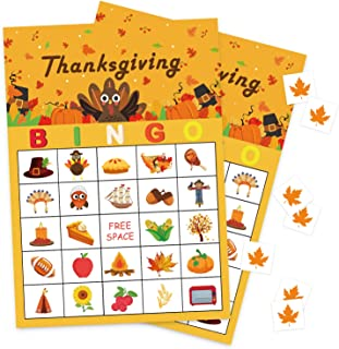 Geefuun Thanksgiving Games Fall Bingo Cards for Kids Party Supplies Decorations-24 Players