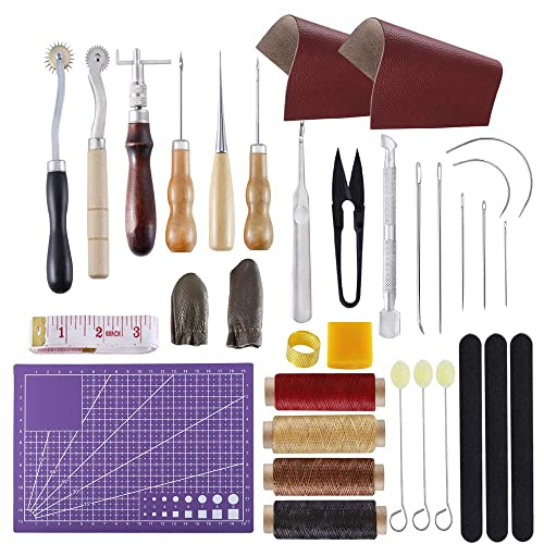 Leather Sewing Tools Craft Awl Thimble Ki Punch Hand Carving Thread Practical