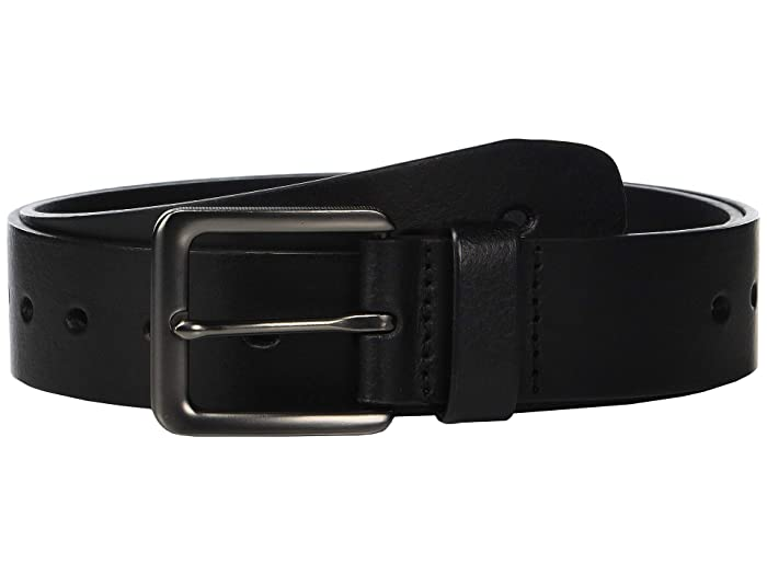 Perry Ellis Portfolio  38 mm Oval Holes Casual Belt (Black) Mens Belts